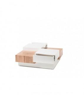 Stolik Kawowy PENSA 90 Cm W Kolorze Biało Dębowym do pokoju w stylu skandynawskim. Idealny do salony w stylu nwoczesnym.