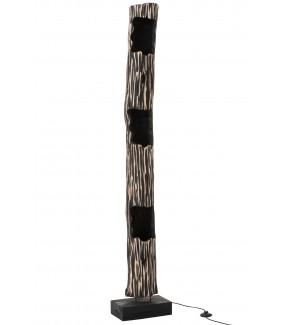 Lampa Stojąca TRUNK II Paulownia Czarno- Beżowa do salonu w stylu nowoczesnym. Idealna do pokoju w stylu skandynawskim.