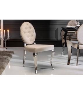 Krzesło VIENNA beżowe idealne do salonu w sylu barokowym. Sprawdzi się w jadalni w stylu glamour.