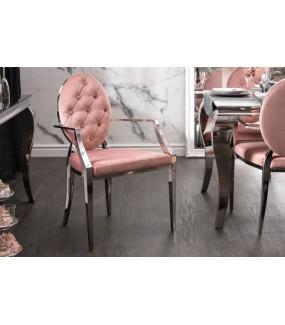 Krzesło VIENNA z podłokietnikami różowe do salonu w stylu barokowym. Idealne do jadalni w stylu glamour.