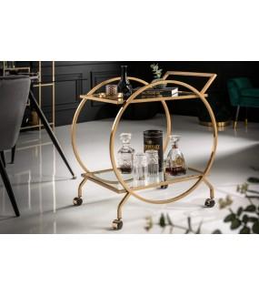 Wózek do serwowania 71 cm idealny do salonu lub pokoju dziennego w stylu glamour.