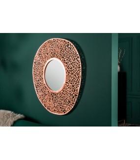 Piękne lustro wiszące LEAF w miedzianym kolorze do przedpokoju w stylu nowoczesnym. Idealne do łazienki w stylu glamour.