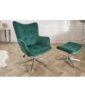 Wygodny obrotowy fotel w pięknym szmaragdowym kolorze idealny do gabinetu w stylu retro. Sprawdzi się w nowoczesnym pokoju.