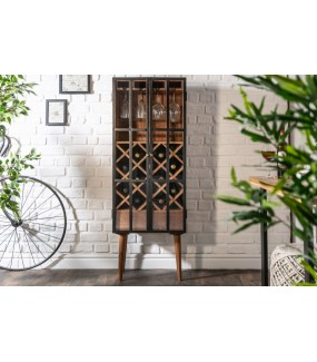 Praktyczny barek na wino do industrialnego salonu. Idealny do jadalni lub pokoju dziennego w stylu retro.