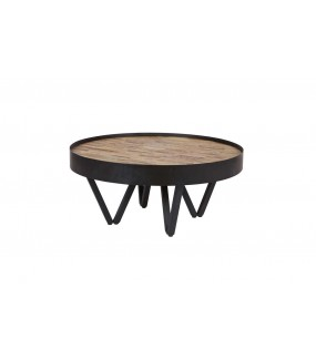 Praktyczny okrągły stolik kawowy do salonu dziennego w stylu industrialnym.