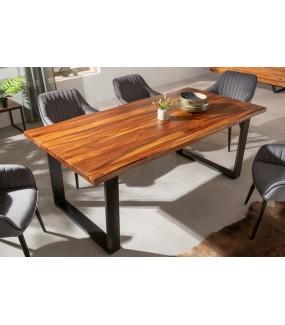 Piękny stół z drewna jedwabnego do salonu w stylu industrialnym. Idealny do skandynawskiej jadalni lub kuchni w stylu eko.
