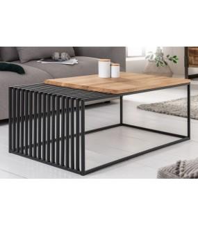 Praktyczny stolik o ciekawym wyglądzie do salonu industrialnego. Sprawdzi się w pokoju skandynawskim.