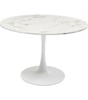 Okrągły stolik do jadalni w stylu glam lub nowoczesnej kuchni.