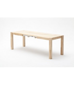 Praktyczny rozkładany stół do jadalni w stylu skandynawskim. Sprawdzi się w salonie urządzonym w stylu retro.