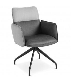 Nowoczesne Krzesło FARAON grafitowe z obrotowym siedziskiem