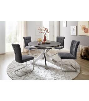 Stół rozkładany WINNIPEG 120 cm - 160 cm antracytowo srebrny