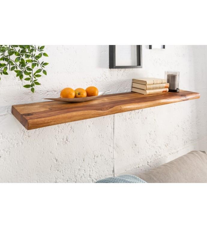 Praktyczna, wisząca półka ścienna z drewna sheesham z ukrytym mocowaniem do pokoju w stylu skandynawskim lub gabinetu vintage.