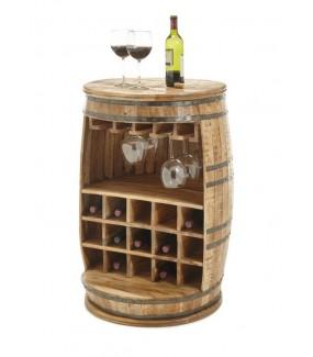 Stojak na wino FIASKO z drewna mango do salonu w stylu industrialnym