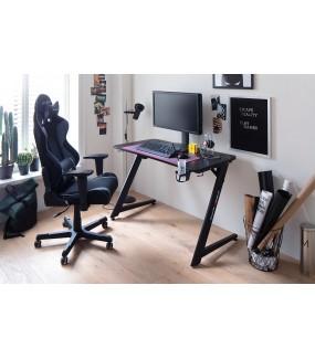 Biurko gamingowe z serii DXRACE z praktycznymi uchwytami.