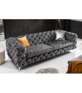 Sofa SOFIJA 240 cm welur ciemnoszara