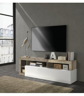 Stolik pod TV HAMBURG 184 cm biała z dodatkiem klon Pero