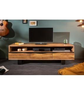 Piękny stolik pod TV z trzema szufladami i otwartą półką będzie idealny do pokoju w stylu klasycznym.