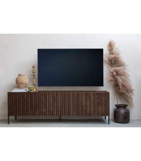 Stolik pod TV GRAVURE brązowy do pokoju dziennego w stylu industrialnym.