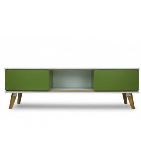Stolik  pod TV  SCANE 160 cm zielony idealny do salonu w stylu skandynawskim. Sprawdzi się w nowoczesnym pokoju.