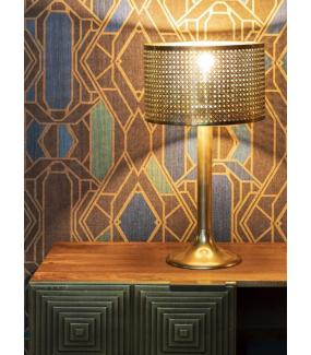 Ciekawie wykończona lampa stołowa BARUN złota do wnętrz nowoczesnych
