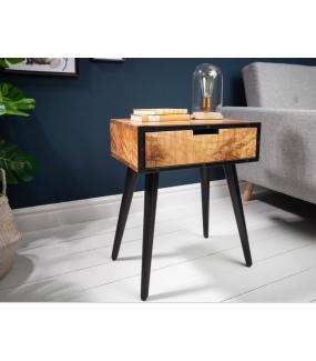 Praktyczna szafka nocna z szufladą idealnie wkomponuje się do sypialni w  nieco lżejszym  surowym soft - loftowym stylu