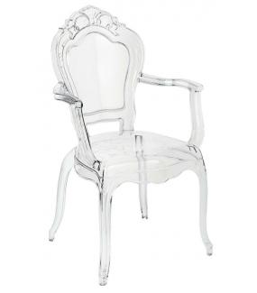Krzesło KING ARM transparentne optycznie nie zabiera wiele miejsca