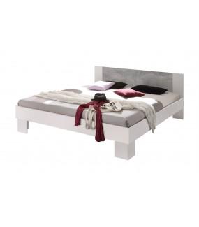 Łóżko MARVIC 160 Cm X 200 Cm białe z dodatkiem koloru szarego