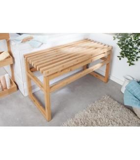 Praktyczna ławka z drewna bambusowego do wnętrz w stylu skandynawskim, eko oraz boho.