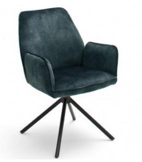 Krzesło tapicerowane w optyce weluru świetnie sprawdzi się w salonie w stylu industrialnym oraz q nowoczesnej jadalni.