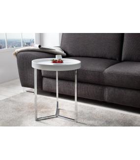 Stolik kawowy Modul 40 cm biało srebrny