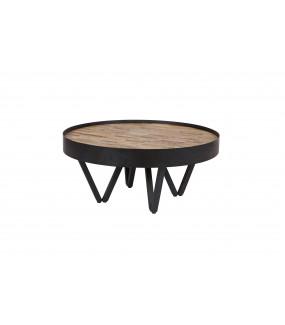 Praktyczny okrągły stolik kawowy do pokoju dziennego w stylu industrialnym.